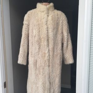 Reversible White Mink lined stenciled Trench Coat